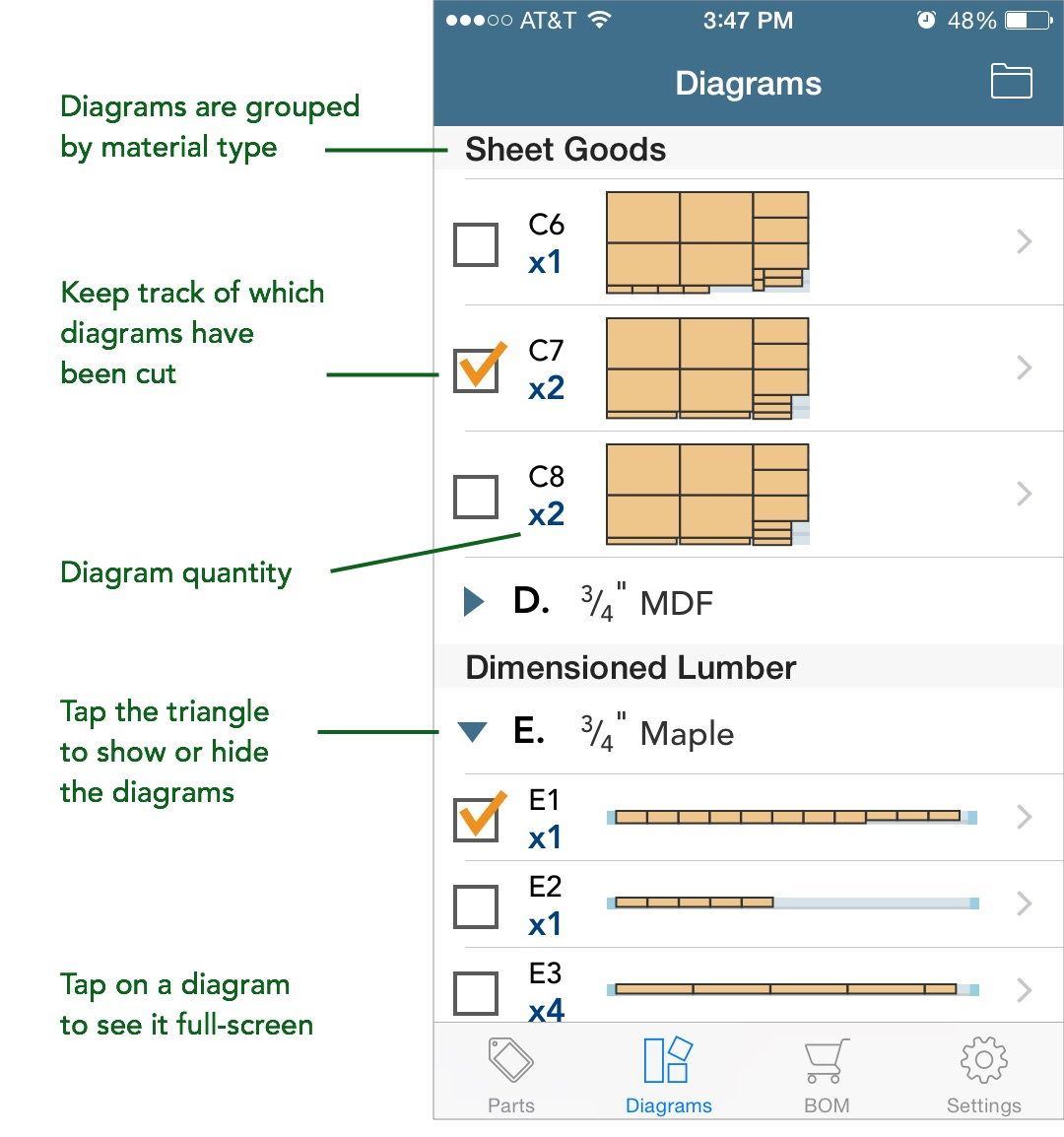 diagrams list screen (iOS)
