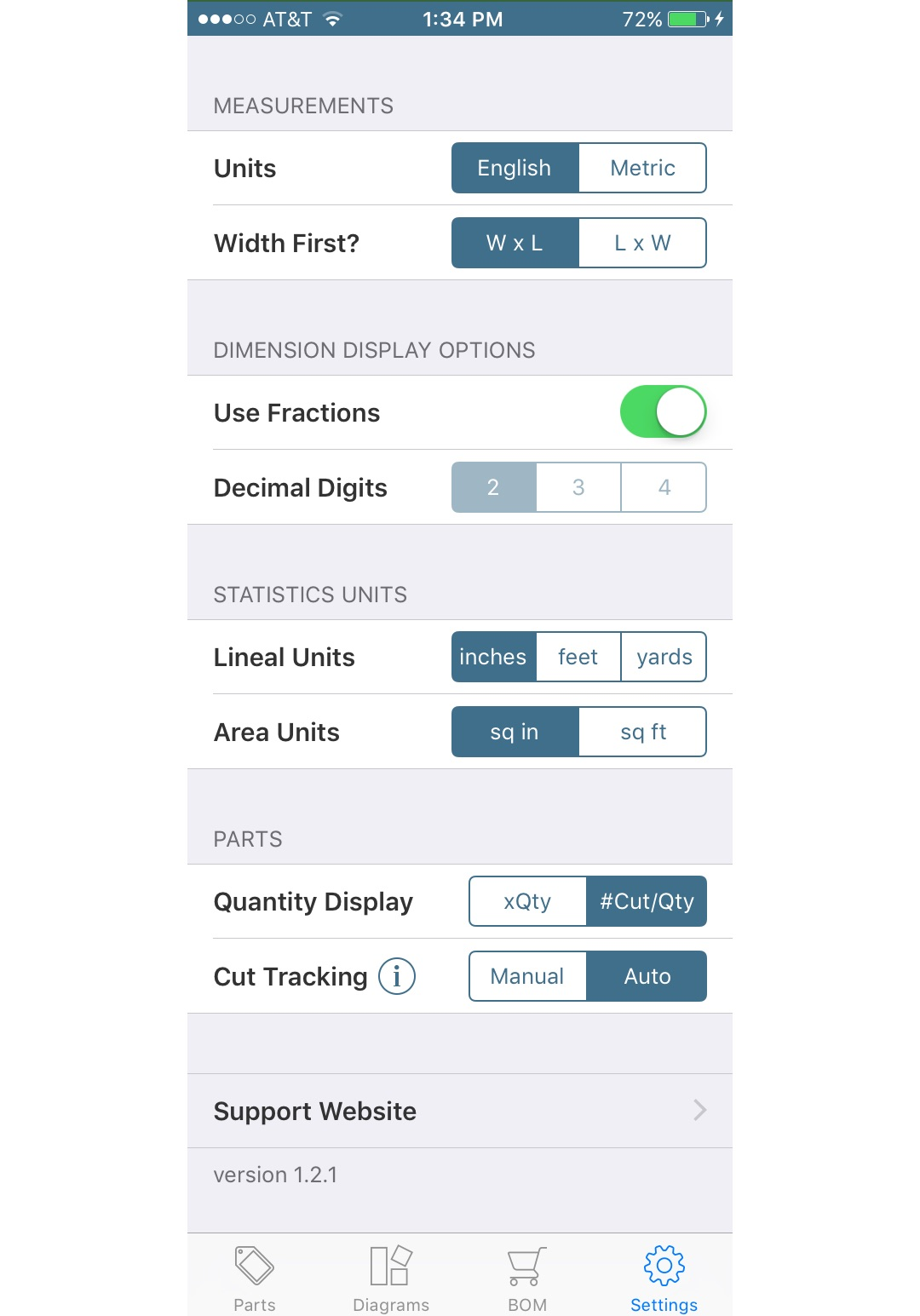 settings screen (iOS)