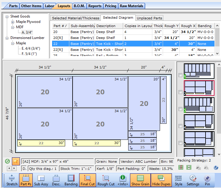 CutList Plus Cutting Diagram Software: Sheet Layout