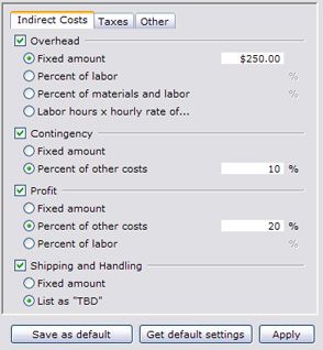 Pricing setup screen